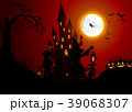 Halloween background with silhouettes of children  39068307