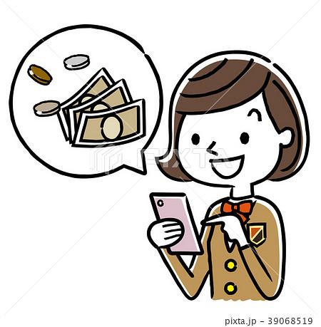 女子学生:スマートフォン、パソコンとお金 39068519