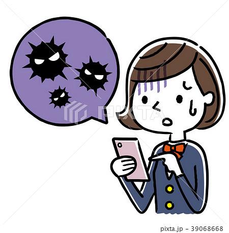 女子学生:スマートフォン、ウイルス、感染 39068668