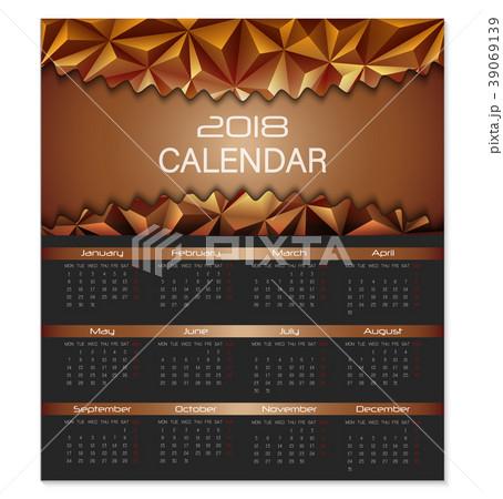 calendar design template for 2018 year week startのイラスト素材