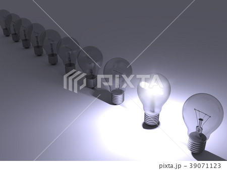 Group of light bulbs with one bulb illuminated. 39071123
