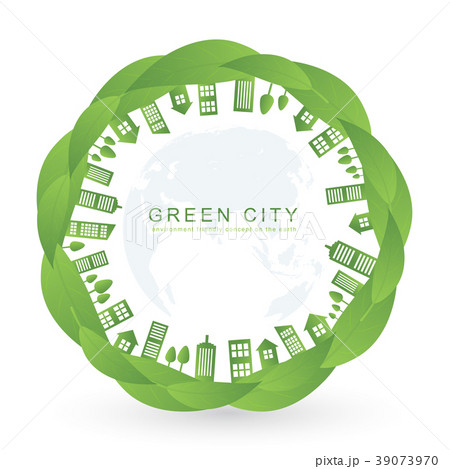 Isolated city buildings on green leaf design 39073970