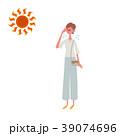 女性 太陽 日光のイラスト 39074696