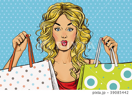 Pop Art blond women with shopping bags in the hand 39085442