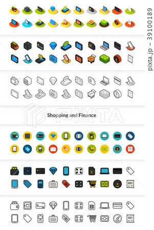 Set of icons in different style - isometric flat 39100189
