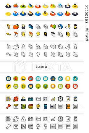 Set of icons in different style - isometric flat 39100216