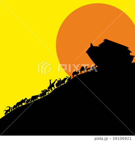 Noah and the ark and the animals. Silhouette, hand 39106921