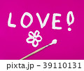 Love word with flower painted on pink 39110131