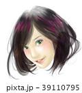 女性 イラスト リアル リアルテイスト かわいい おしゃれ セミロング ヘア モデル カットモデル 39110795