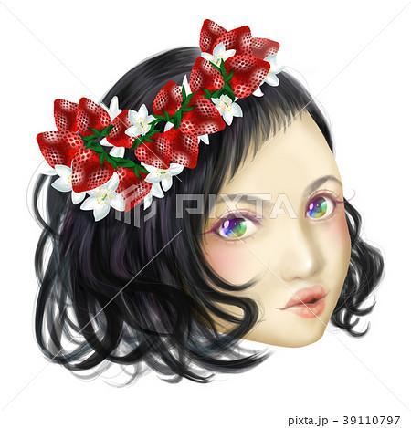 オシャレ 女性 可愛い イラスト ヘア メイク モデル アップ 黒髪 かわいい おしゃれ パーマのイラスト素材 39110797 Pixta
