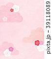 背景-和紙-雲-梅 39118089