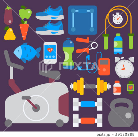 sport gym fitness vector equipment inventory andのイラスト素材