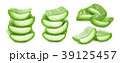 Sliced aloe vera set isolated on white background 39125457