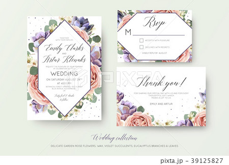 wedding floral invitation rsvp thank you cardsのイラスト素材