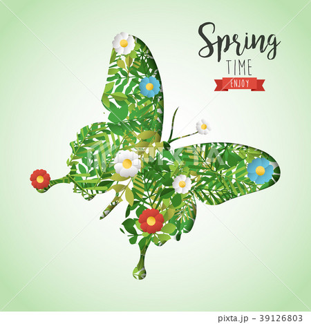Spring time butterfly paper cutout greeting card 39126803