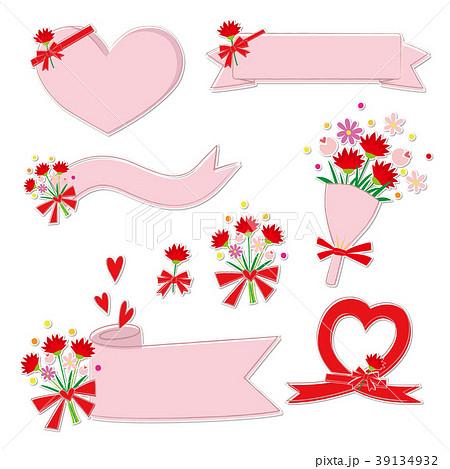 母の日 花束 りぼん 素材集 白縁 39134932