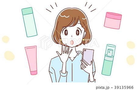 スマホで化粧品についての情報を集める女性のイラスト 39135966