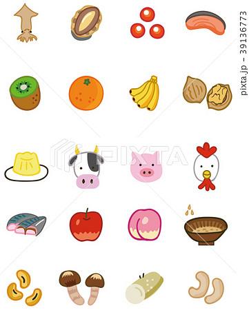 食物アレルギー 特定原材料に準ずる20品目(表示推奨20品目)のイラスト素材 39136773