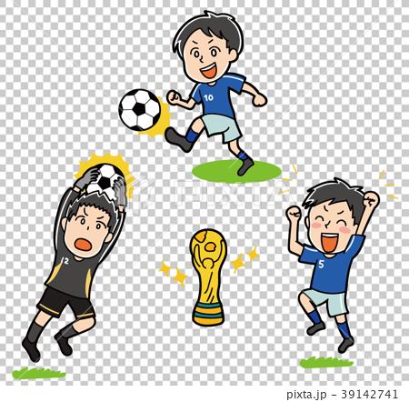 ワールドカップのイメージイラスト(サッカー選手とトロフィー) 39142741