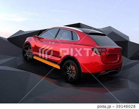 ポリゴン岩場を上るメタリックレッドの電動SUVのイメージ 39146028