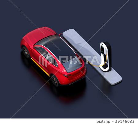 急速充電ステーションに充電している電動SUVのアイソメイメージ 39146033