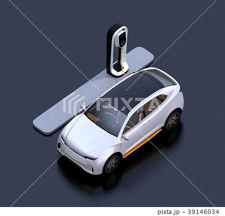 急速充電ステーションに充電している電動SUVのアイソメイメージ 39146034