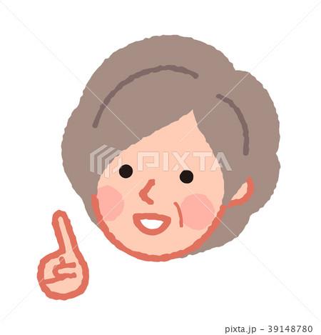 指差しをするシニア女性の顔 39148780