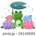 カエル 梅雨 紫陽花のイラスト 39149689