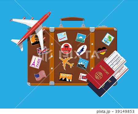 Travel suitcase with stickers and aircraft 39149853