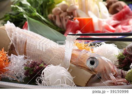 食べ物 魚介類 料理 日本料理 イカ刺し いか 刺身 活き造り いか活き造り 新鮮 海の幸  39150996