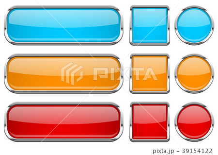 glass buttons with chrome frame set of coloredのイラスト素材