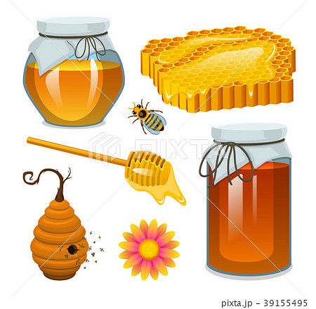Honey in jar, bee and hive, spoon and honeycomb 39155495