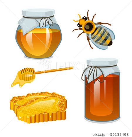 Honey in jar, bee and hive, spoon and honeycomb 39155498