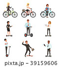 Business men and women on different vehicles 39159606