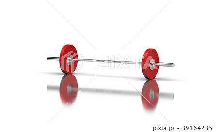 barbell with 1 disc on both sides angle 1 view 3dのイラスト素材