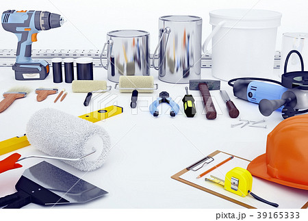Construction,tools, located, on, a, white, surface 39165333