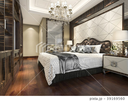 wood classic bedroom suite with shelf and bathroom 39169560