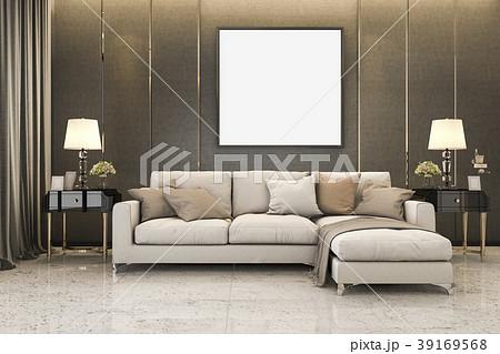 nice soft sofa near luxury golden decor mock upのイラスト素材