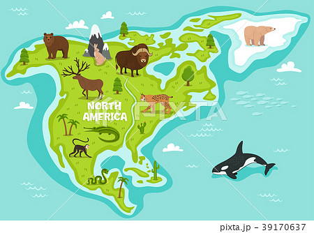 north american map with wildlife animalsのイラスト素材 39170637