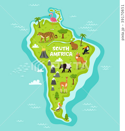 south american map with wildlife animalsのイラスト素材 39170651