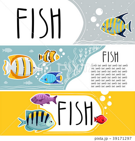 colorful reef fish horizontal flyersのイラスト素材 39171297 pixta