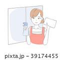 女性 窓拭き 雑巾のイラスト 39174455