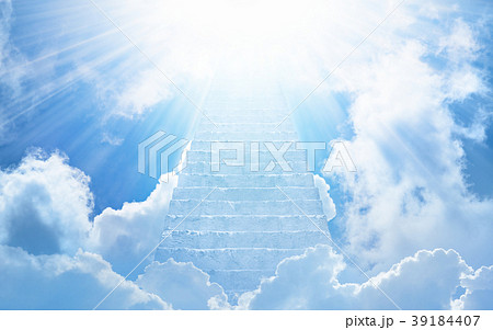 Stairs to heaven, bright light from heaven 39184407