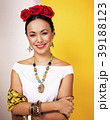 young pretty mexican woman smiling happy on yellow 39188123
