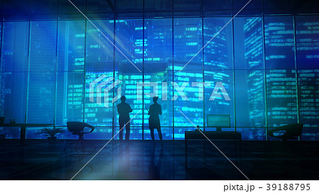Silhouettes In An Office Building Against Of 39188795