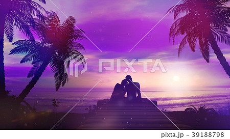 Romantic Couple Meets The Sunset By The Ocean 39188798