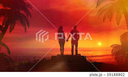 Romantic Couple Watching The Red Sunset In The 39188802