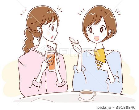 カフェで会話する2人の女性のイラスト 39188846