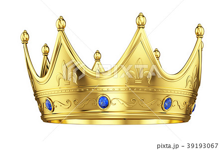 Royal gold crown with sapphires isolated on white 39193067