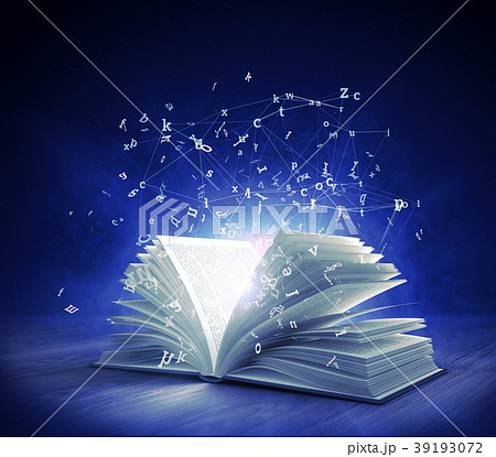 Open Magic Book with magic light and flying letter 39193072
